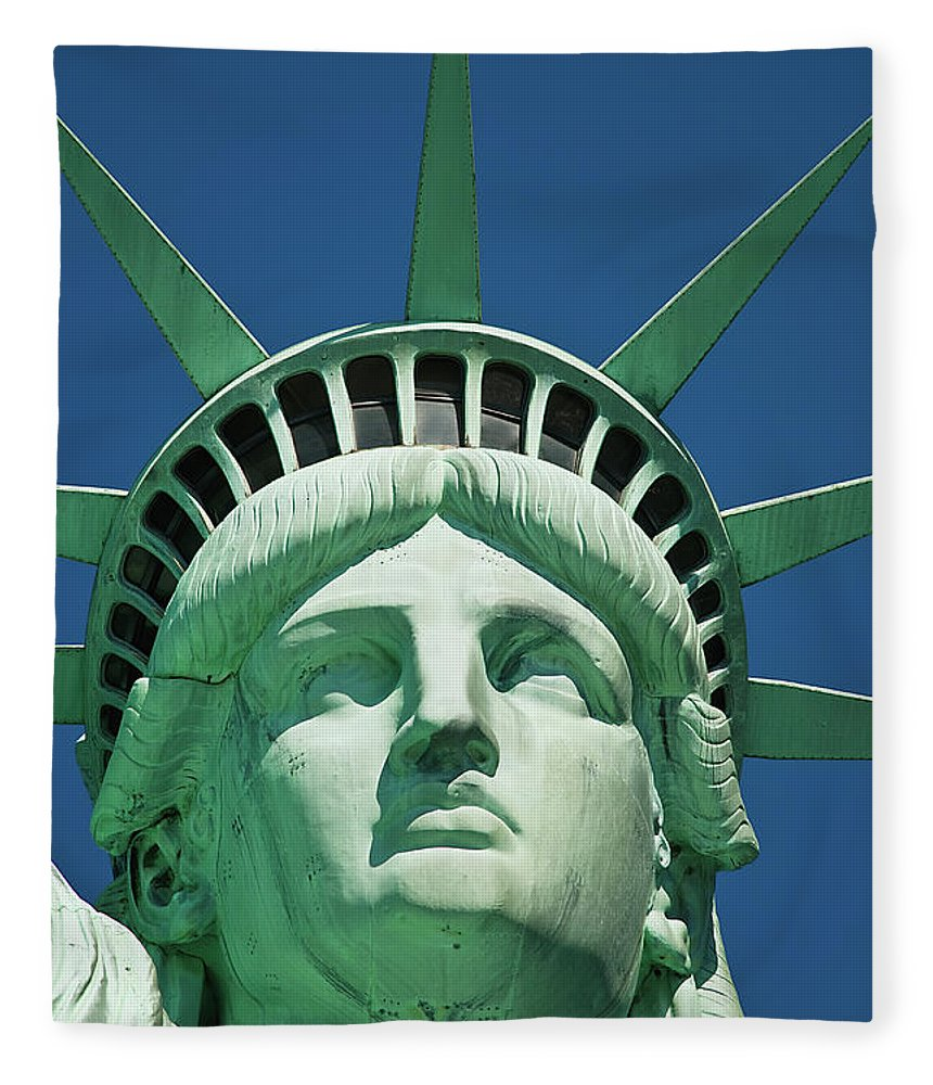 Crown Fleece Blanket featuring the photograph Statue Of Liberty by Tetra Images