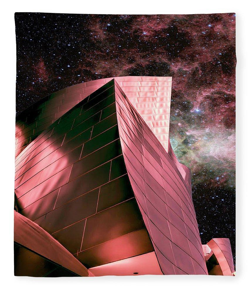 Walt Disney Concert Hall Fleece Blanket featuring the photograph Steel Dreams Pink by Elisabeth Lucas