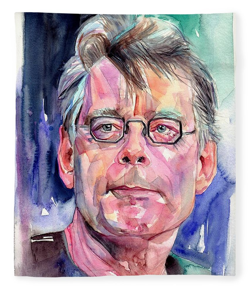 Stephen King Fleece Blanket featuring the painting Stephen King Portrait by Suzann Sines