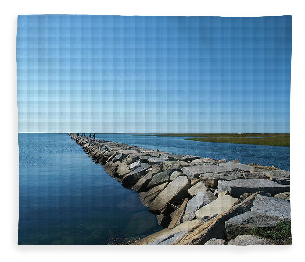 Tranquility Fleece Blanket featuring the photograph Stone Pier by © Bill Weston