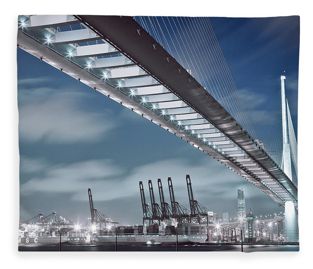 Built Structure Fleece Blanket featuring the photograph Stonecutters And Container Terminal by Andi Andreas