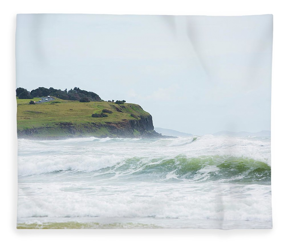 Tide Fleece Blanket featuring the photograph Storm Swell Waves On A Beach by David Freund