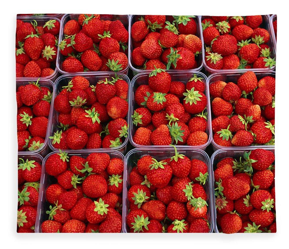 Fruit Carton Fleece Blanket featuring the photograph Strawberries For Sale, Bergen, Norway by Anders Blomqvist