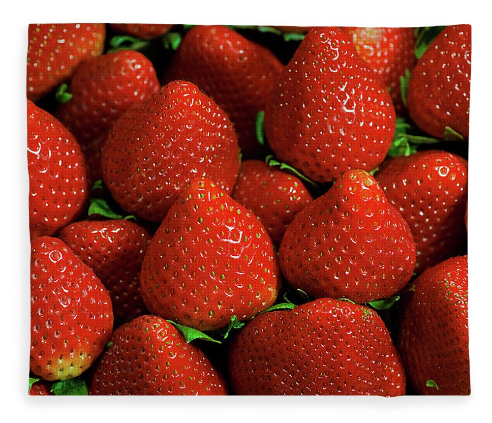 Large Group Of Objects Fleece Blanket featuring the photograph Strawberry Cliche by By Ken Ilio