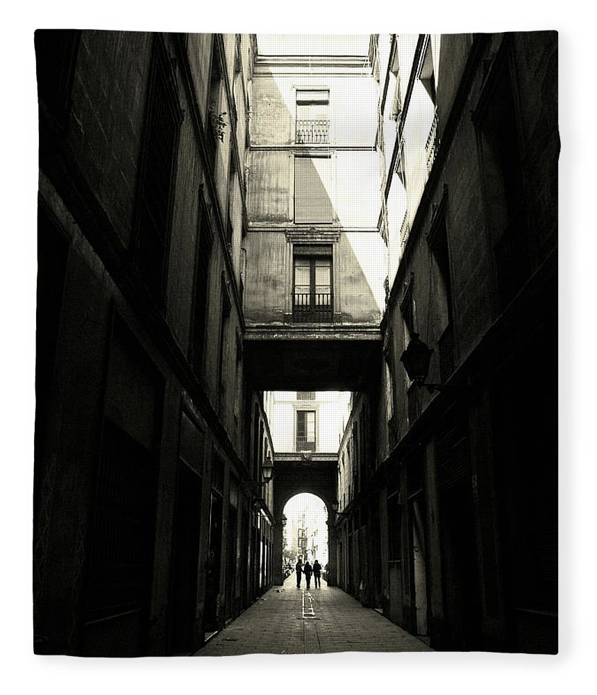 Arch Fleece Blanket featuring the photograph Street In Barcelona by Maria Fernandez