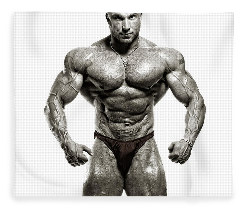 Abdominal Muscle Fleece Blanket featuring the photograph Strong Male Model by Spanic