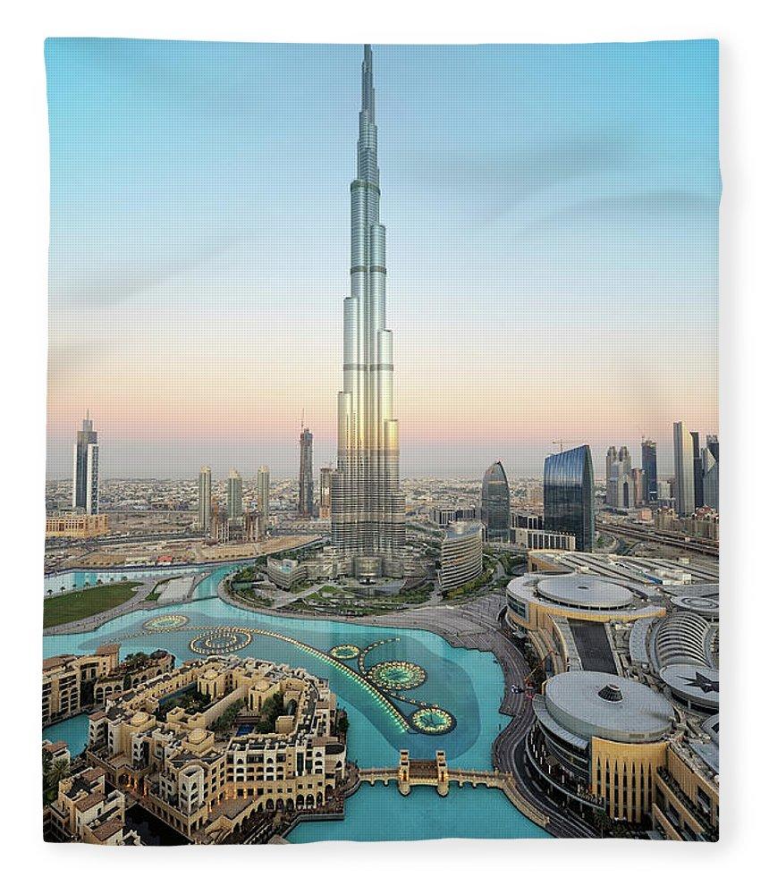 Dawn Fleece Blanket featuring the photograph Stunning Dubai by Dblight