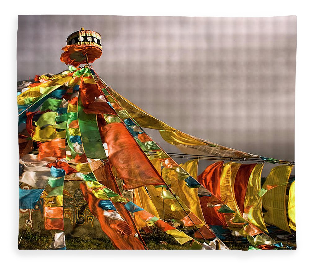 Chinese Culture Fleece Blanket featuring the photograph Stupa, Buddhist Altar In Tibet, Flags by Stefano Tronci
