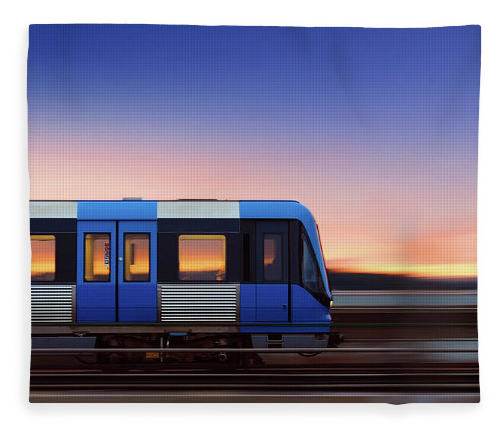 Train Fleece Blanket featuring the photograph Subway Train In Profile Crossing Bridge by Olaser