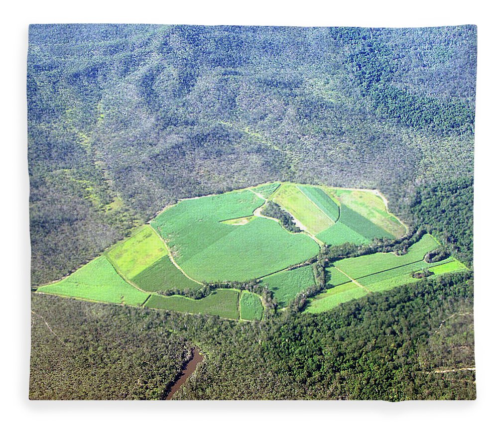 Cairns Fleece Blanket featuring the photograph Sugar Canefields Carved Out Of Forest by Photography By Mangiwau