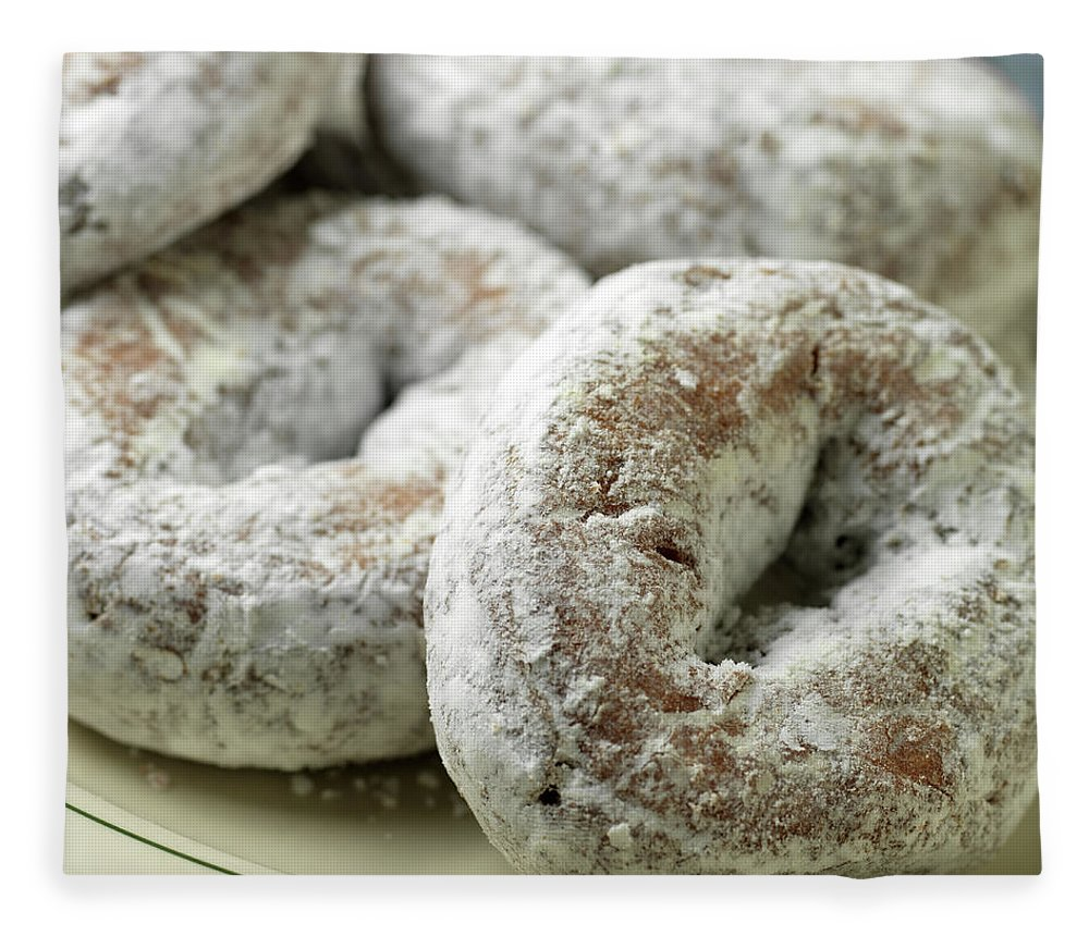 Unhealthy Eating Fleece Blanket featuring the photograph Sugar Doughnuts by Brian Yarvin