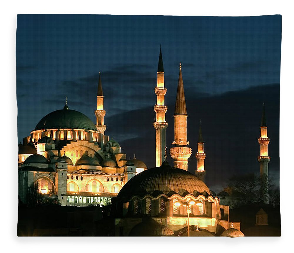 Istanbul Fleece Blanket featuring the photograph Suleymaniye Mosque Istanbul by Lebazele