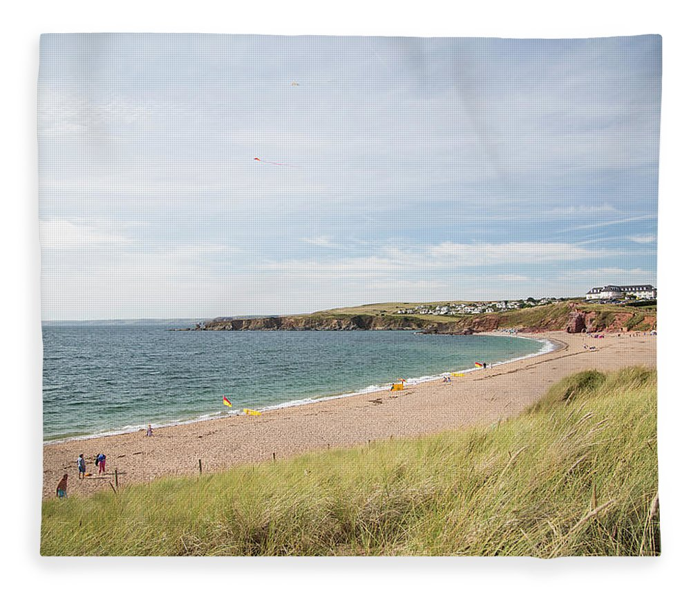 Water's Edge Fleece Blanket featuring the photograph Summer Beach In South Devon by Landscapes, Seascapes, Jewellery & Action Photographer