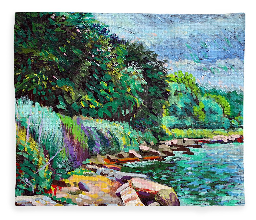Tranquility Fleece Blanket featuring the digital art Summer Shore Of Hudson River, New York by Charles Harker