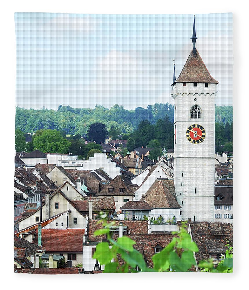 Outdoors Fleece Blanket featuring the photograph Summer View Of Schaffhausen by Oks mit