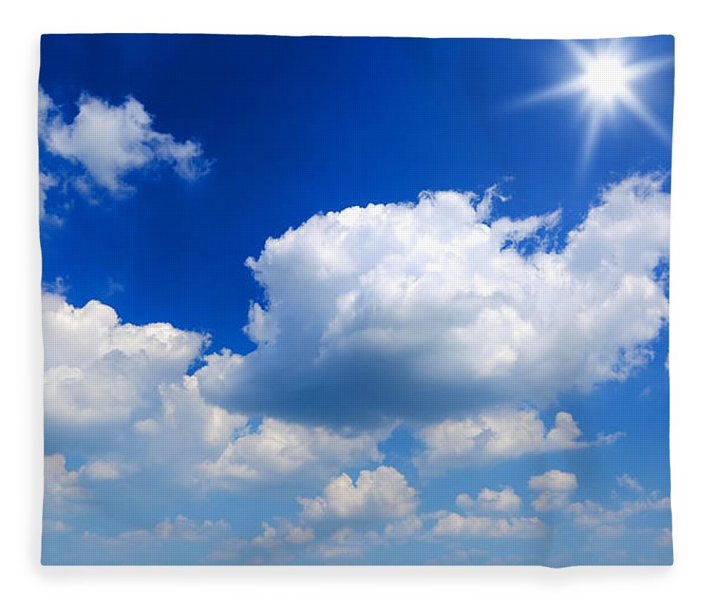 Scenics Fleece Blanket featuring the photograph Sun And Clouds by Macroworld