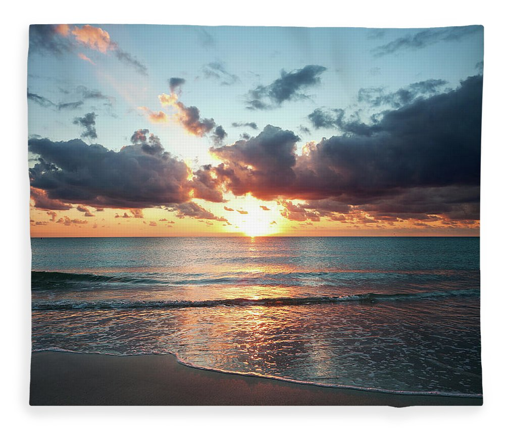 Scenics Fleece Blanket featuring the photograph Sunrise In Miami by Tovfla