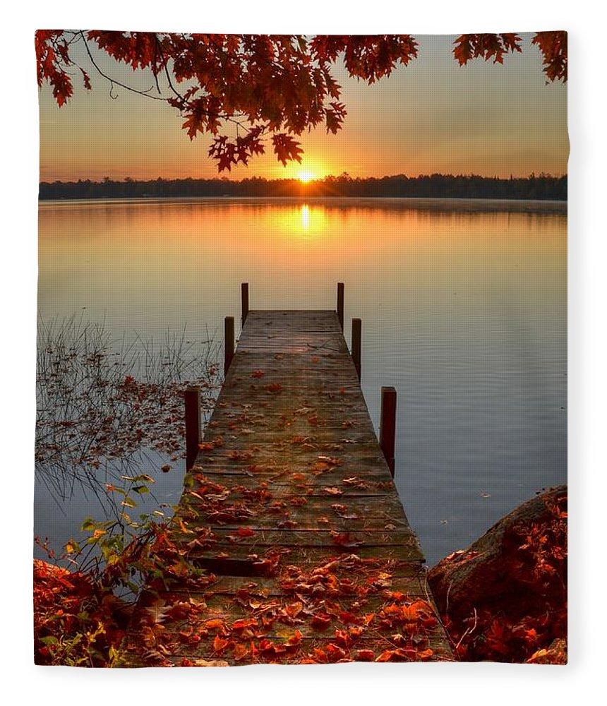 Scenics Fleece Blanket featuring the photograph Sunrise On Pelican Lake by Sherry Slabik
