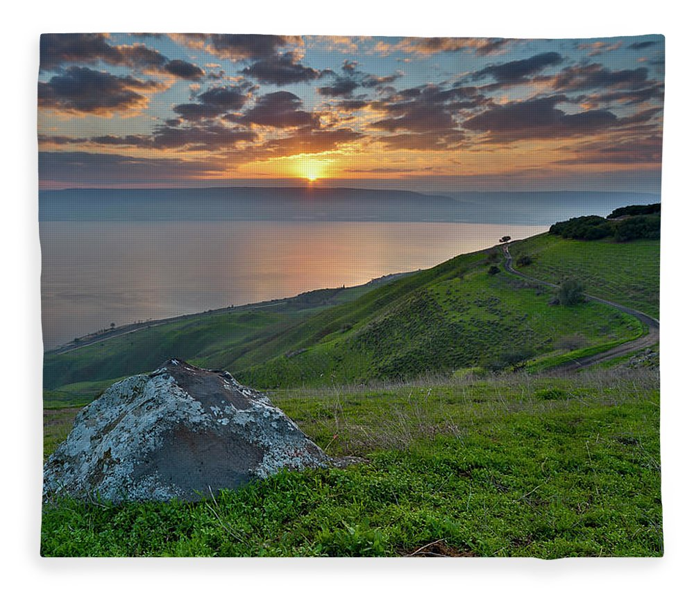 Tranquility Fleece Blanket featuring the photograph Sunrise On Sea Of Galilee by Ilan Shacham