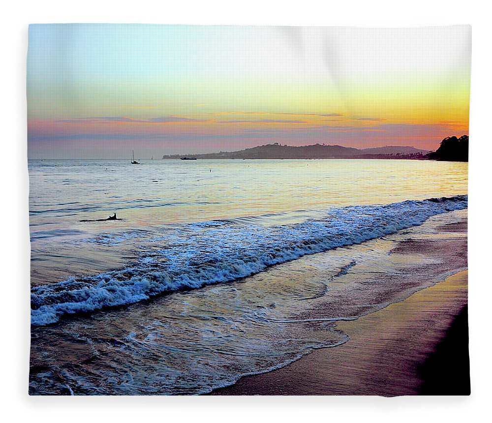 Tranquility Fleece Blanket featuring the photograph Sunset At Butterfly Beach, Santa by Geri Lavrov