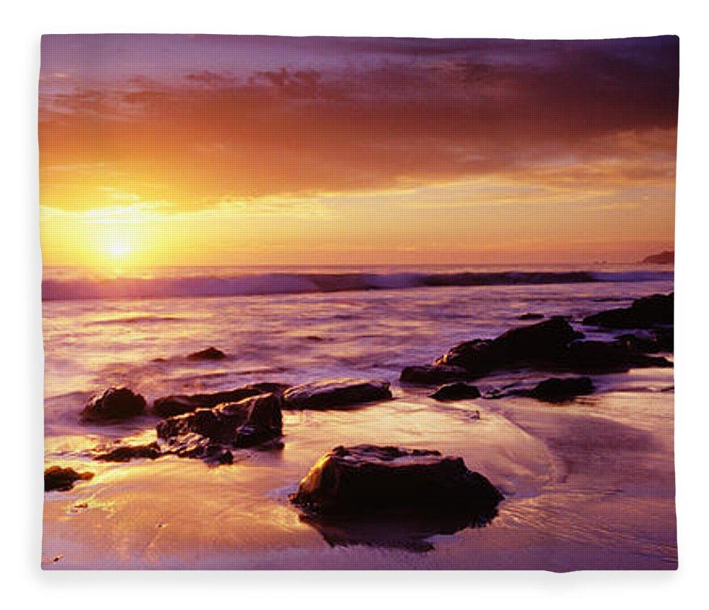 Scenics Fleece Blanket featuring the photograph Sunset At Laguna Beach by Jason v