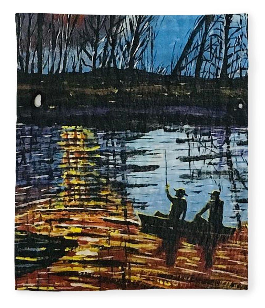 Bass Fishing Fleece Blanket featuring the painting Sunset Bass Fishing by Jeffrey Koss