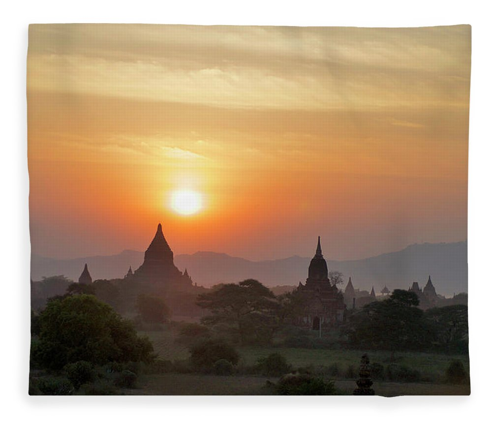 Tranquility Fleece Blanket featuring the photograph Sunset From Atop The Shwesandaw Paya by Jim Simmen