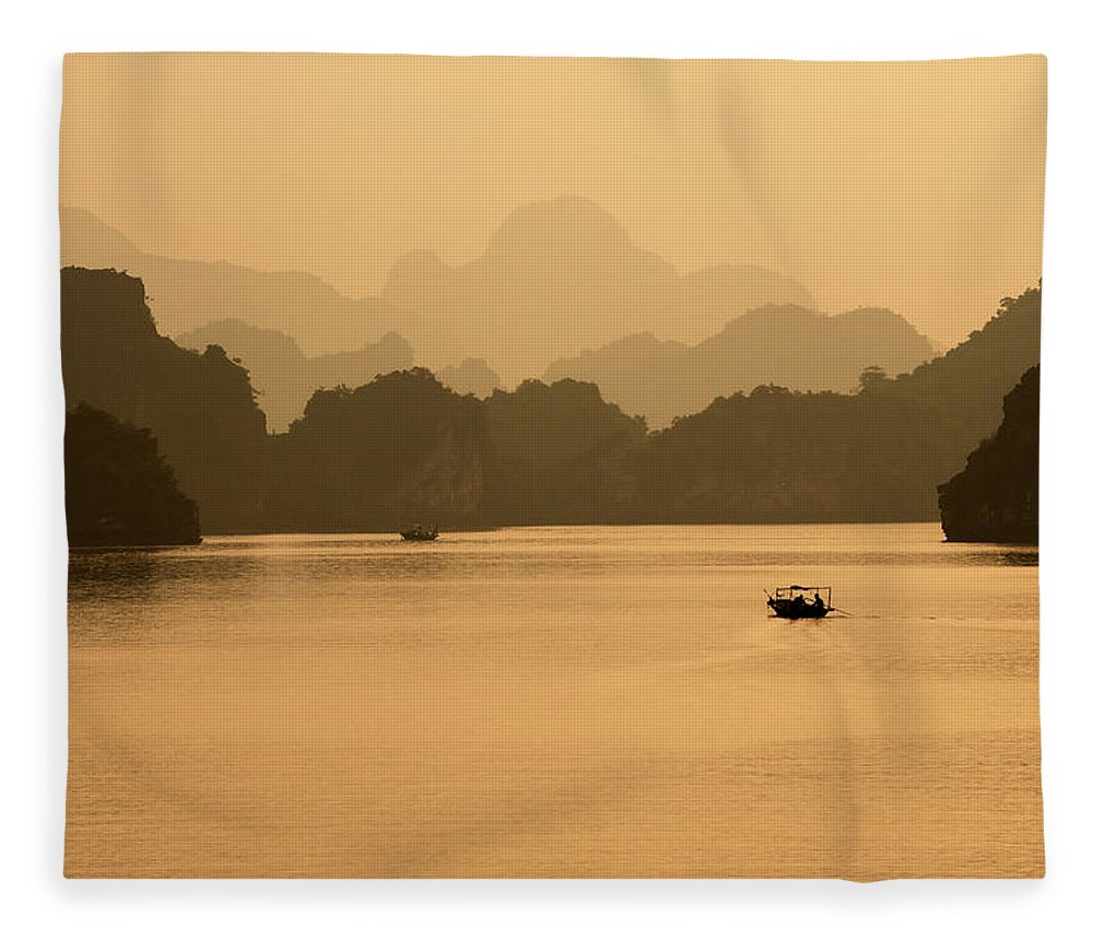 Halong Bay Fleece Blanket featuring the photograph Sunset, Halong Bay, Vietnam by Yellow Dog Productions