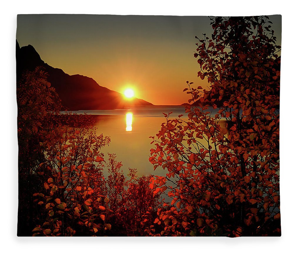 Tranquility Fleece Blanket featuring the photograph Sunset In Ersfjordbotn by John Hemmingsen