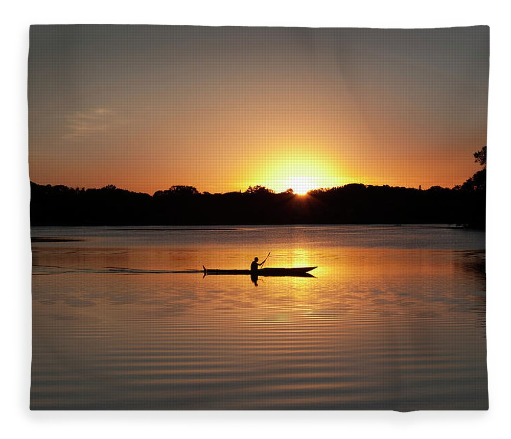 Water's Edge Fleece Blanket featuring the photograph Sunset Kayaking In Lake Of The Isles by Yinyang