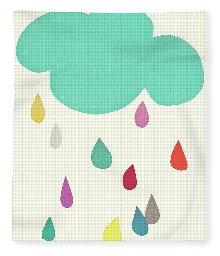 Clouds Fleece Blanket featuring the mixed media Sunshine and Showers by Cassia Beck