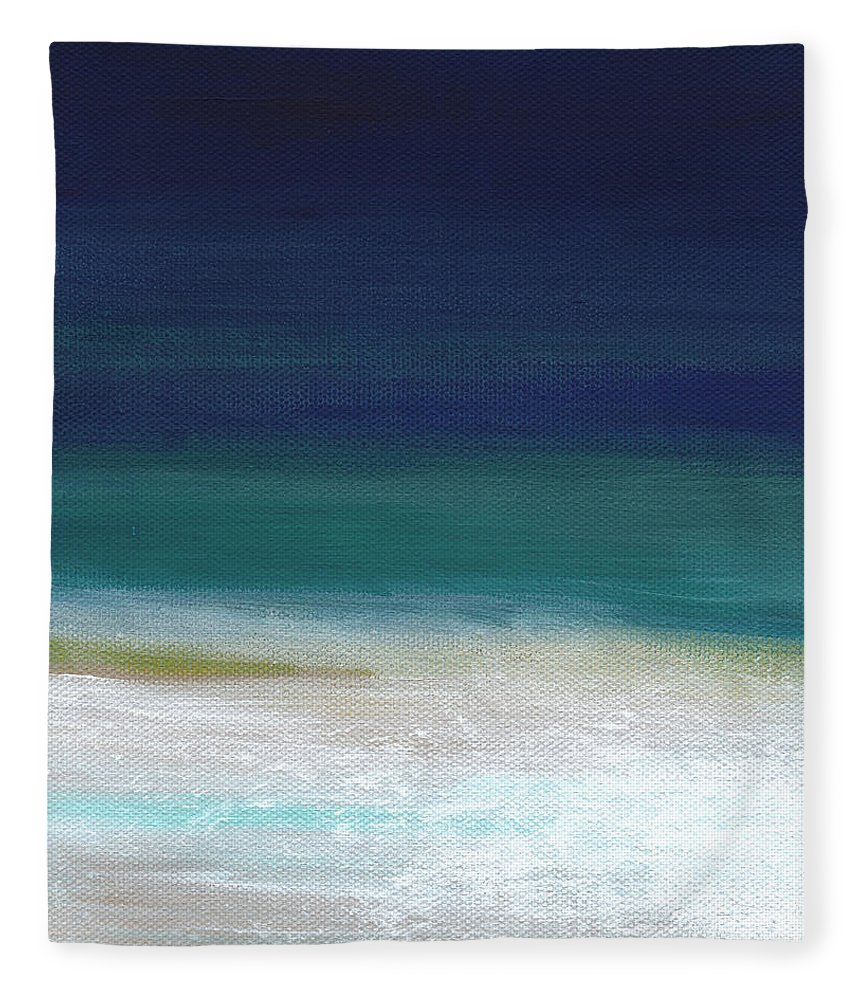 Abstract Fleece Blanket featuring the painting Surf And Sky- Abstract Beach Painting by Linda Woods