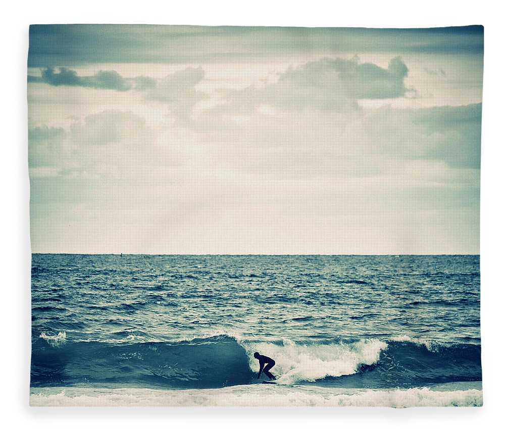 People Fleece Blanket featuring the photograph Surfer In Action by Peeterv
