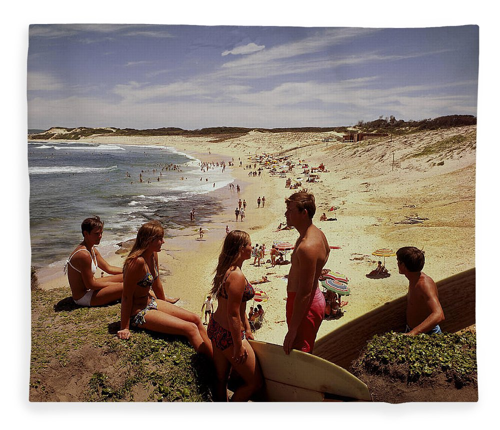 Equipment Fleece Blanket featuring the photograph Surfers & Girls In Bikinis, Soldiers by Robin Smith