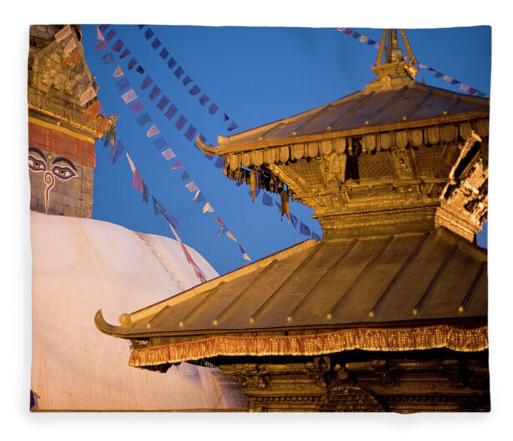 People Fleece Blanket featuring the photograph Swambutayah - The Monkey Temple by Caval