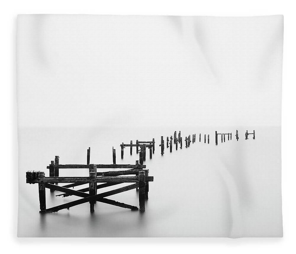 Tranquility Fleece Blanket featuring the photograph Swanage Pier by Doug Chinnery