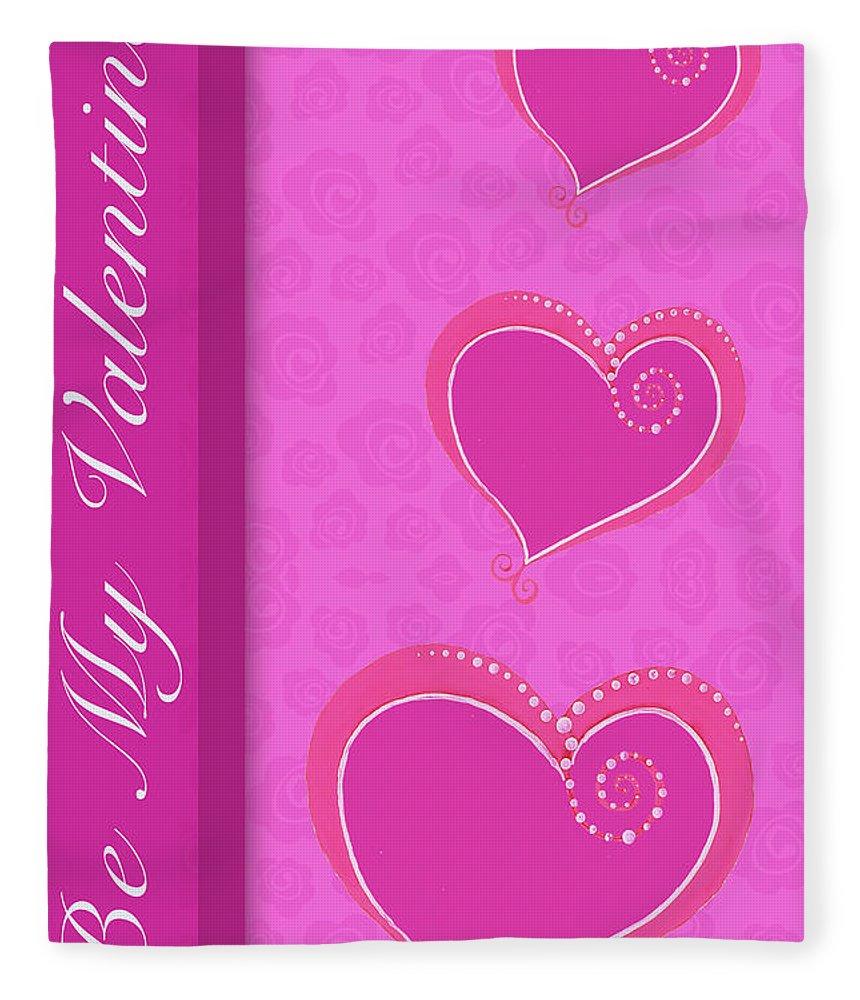 Sweet Fleece Blanket featuring the mixed media Sweet Pink Valentines IIi by Andi Metz
