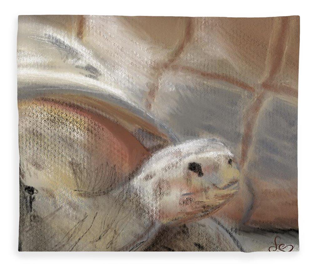 Tortoise Fleece Blanket featuring the digital art Sweet Tortoise by Fe Jones