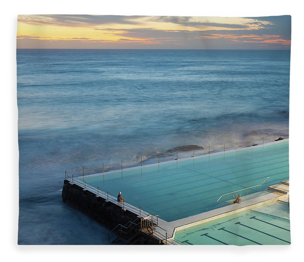 Scenics Fleece Blanket featuring the photograph Swimming Pools At Bondi Beach, Before by Kathrin Ziegler