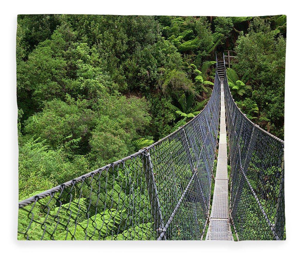 Built Structure Fleece Blanket featuring the photograph Swing Bridge Over Rainforest by Steve Daggar Photography