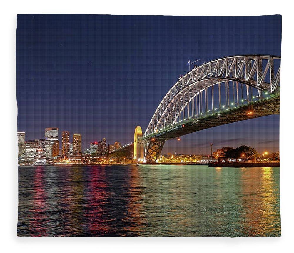 Built Structure Fleece Blanket featuring the photograph Sydney Harbor Bridge At Night, Sydney by Marco Simoni