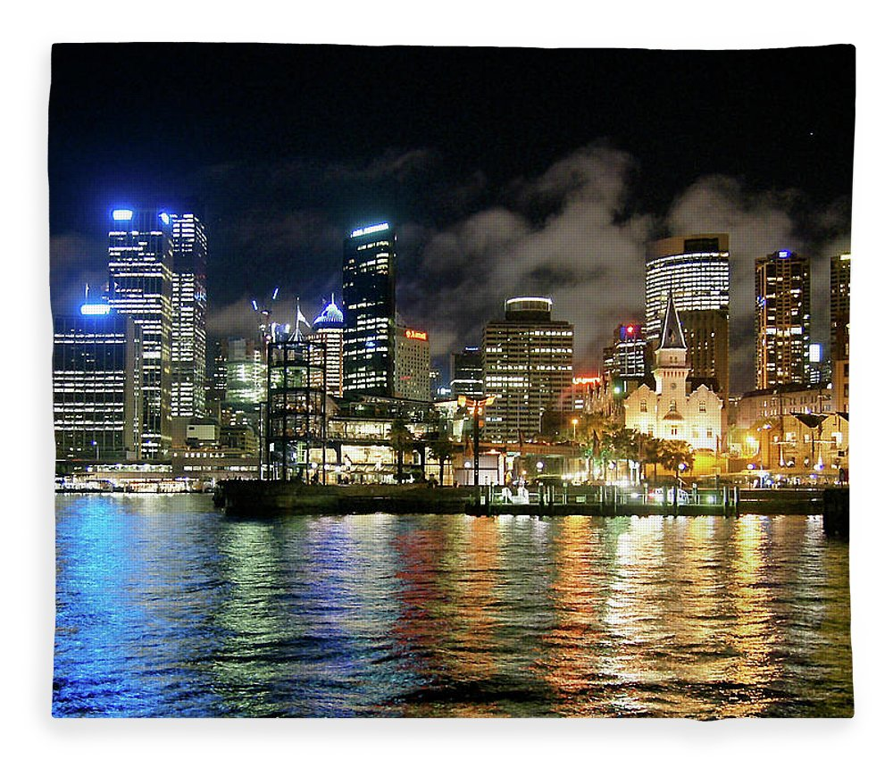 Outdoors Fleece Blanket featuring the photograph Sydney Harbour At Night - Circular Quay by Gregory Adams
