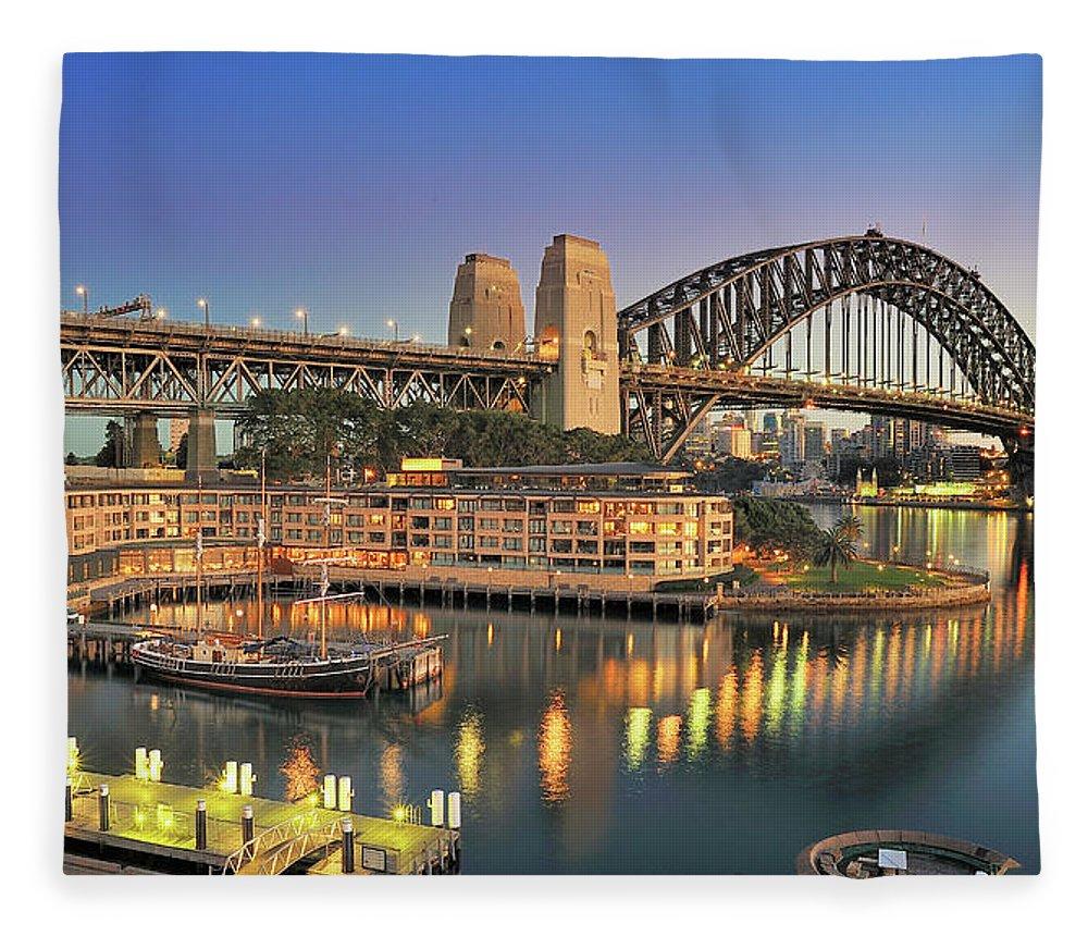 Built Structure Fleece Blanket featuring the photograph Sydney Harbour Bridge by Warwick Kent