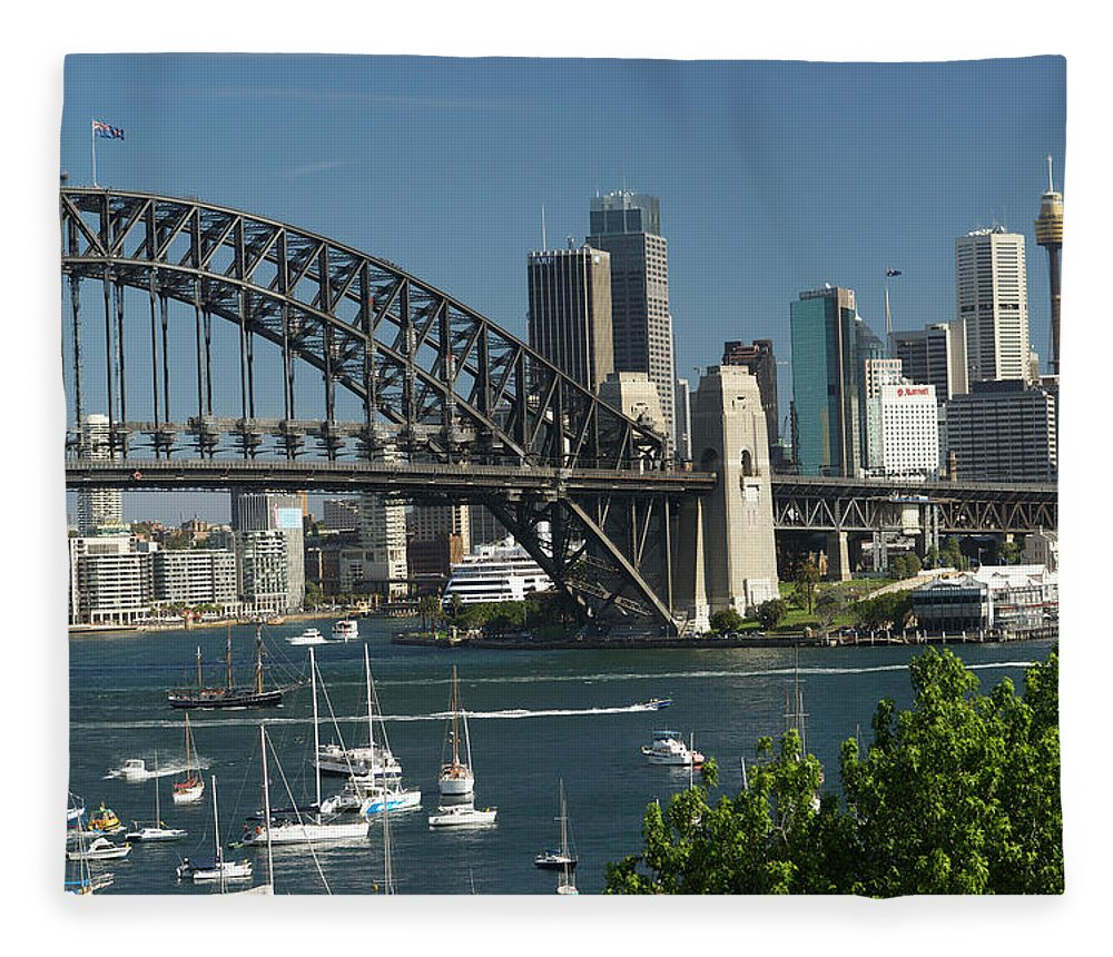 Sydney Harbor Bridge Fleece Blanket featuring the photograph Sydney Harbour, New South Wales by Robin Smith