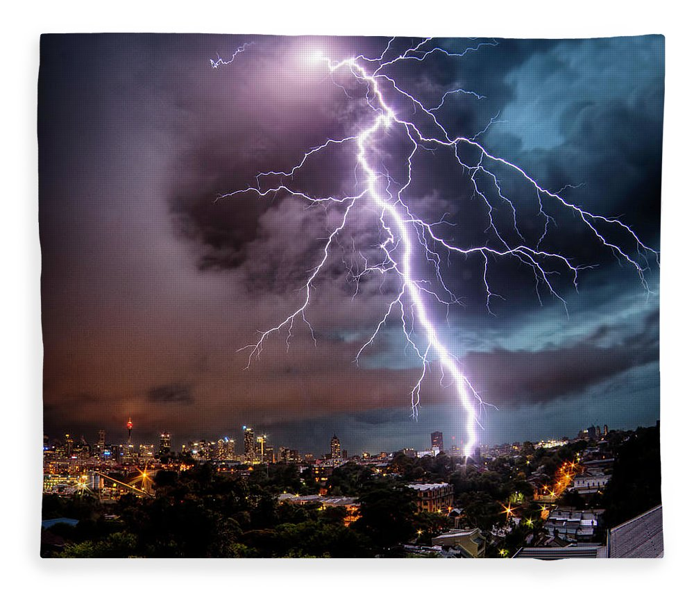 Tranquility Fleece Blanket featuring the photograph Sydney Summer Lightning Strike by Australian Land, City, People Scape Photographer