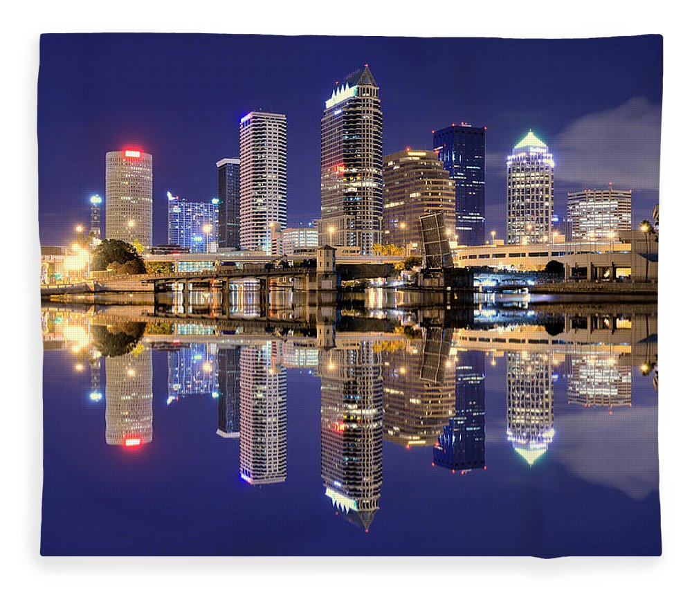Downtown District Fleece Blanket featuring the photograph Tampa Bay Skyline by Sean Pavone
