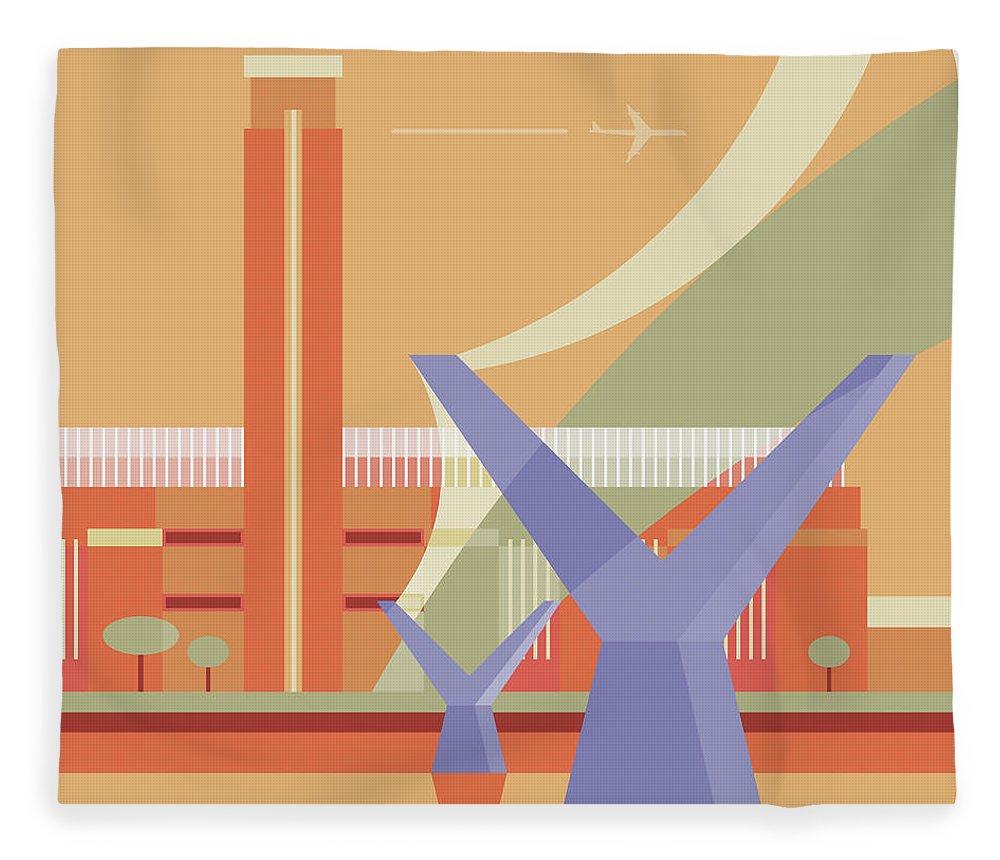 London Millennium Footbridge Fleece Blanket featuring the digital art Tate Gallery And Millennium Bridge by Nigel Sandor