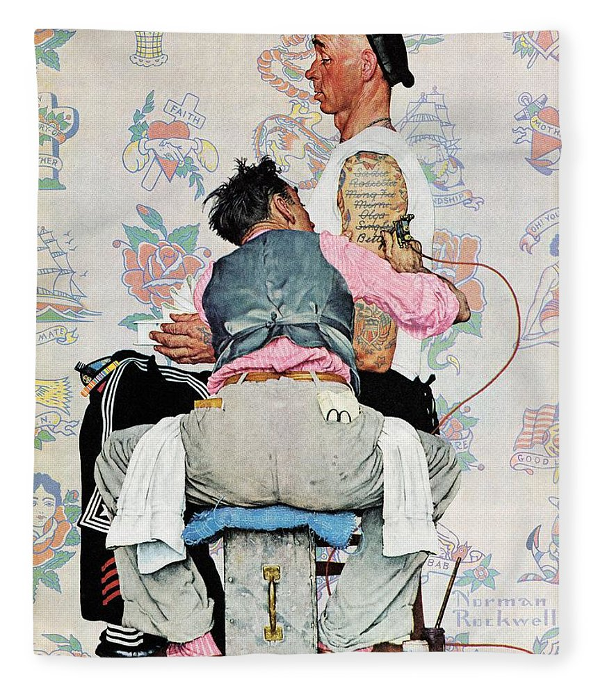 Arms Fleece Blanket featuring the drawing Tattoo Artist by Norman Rockwell