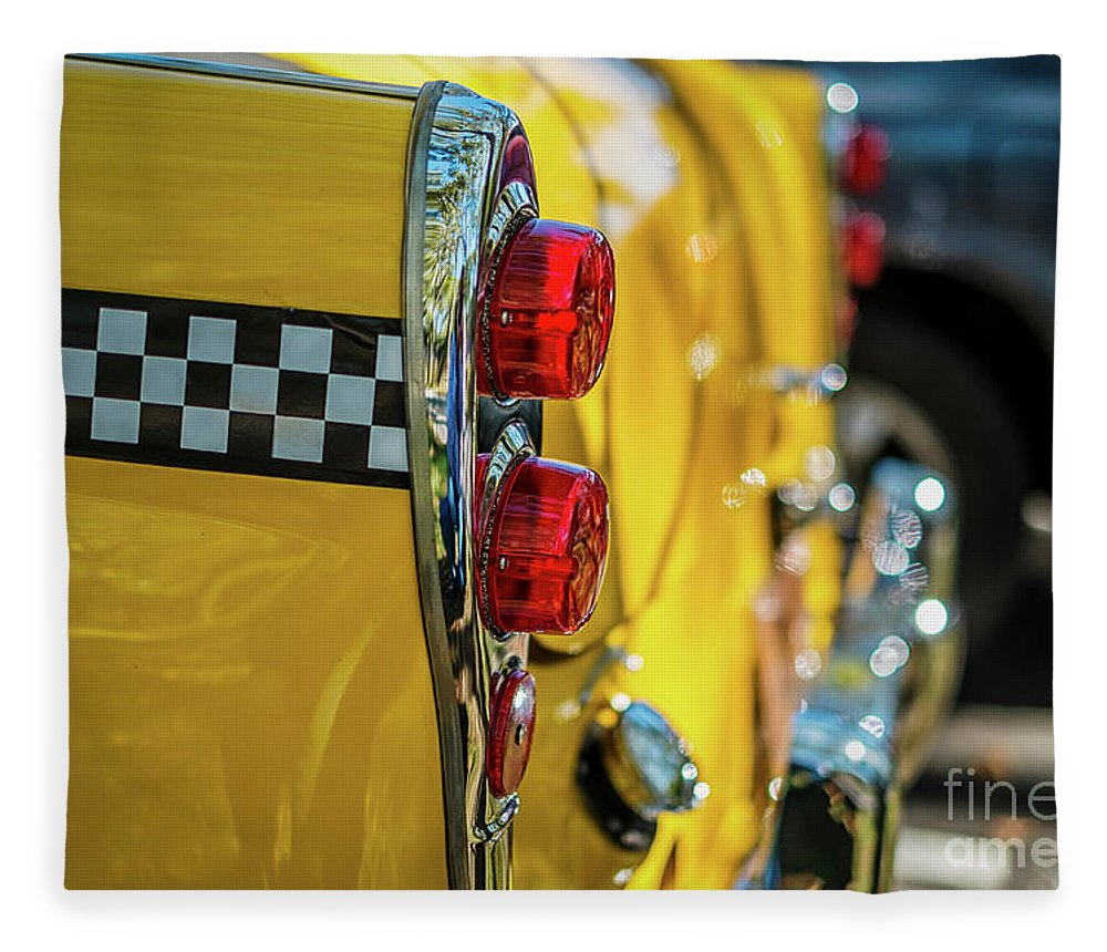 Outdoors Fleece Blanket featuring the photograph Taxi Tail Light, New York City, New by Kai Sarton