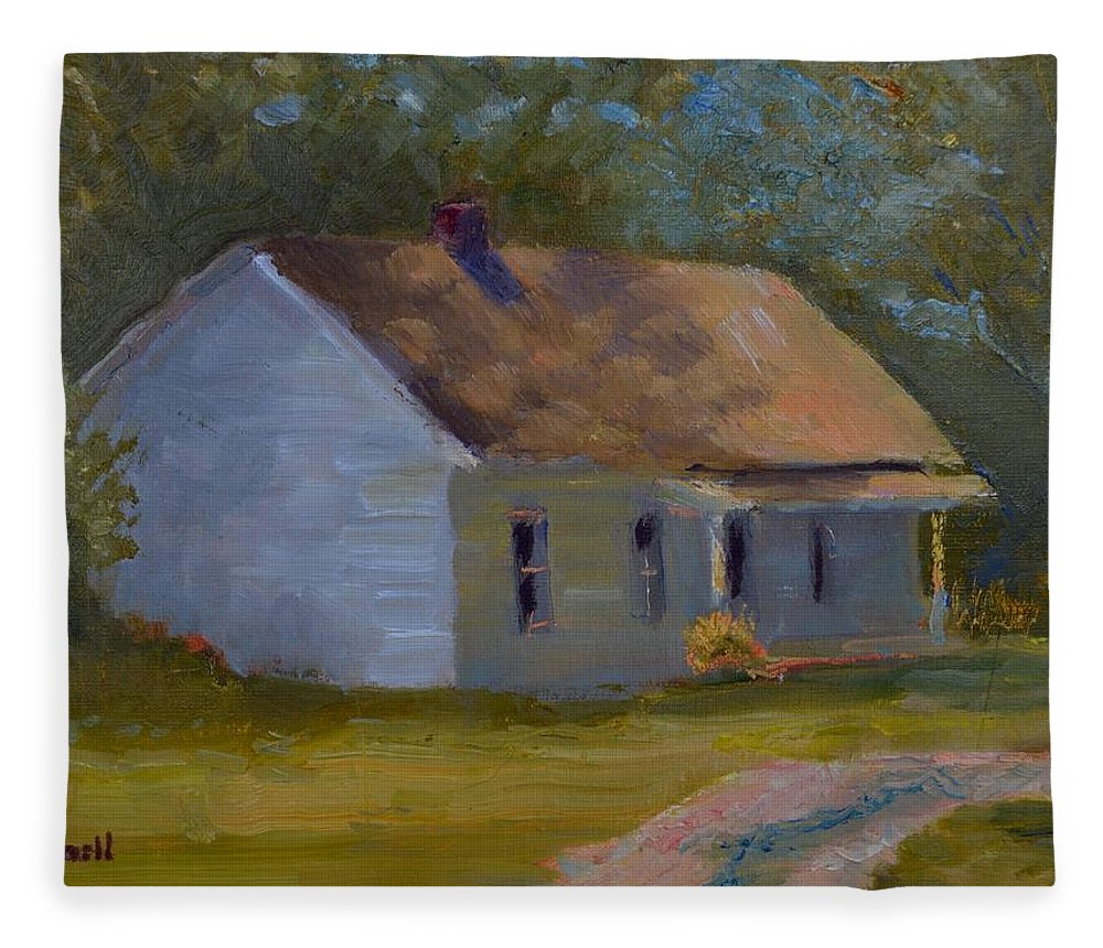 Kentucky Fleece Blanket featuring the painting Tay's Cottage by Roger Snell